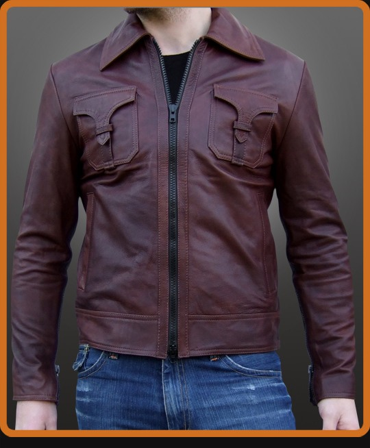 vintage leather stitched jacket with strapped pockets
