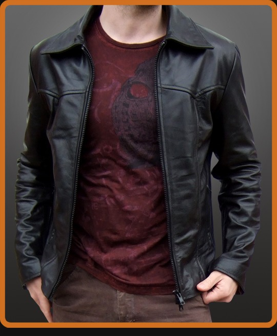 Classic vintage leather jacket with seam lines
