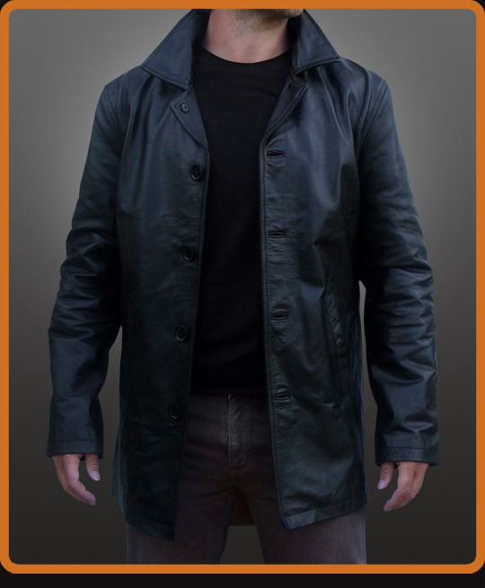 replica long leather jacket as worn  in the TV series Supernatural