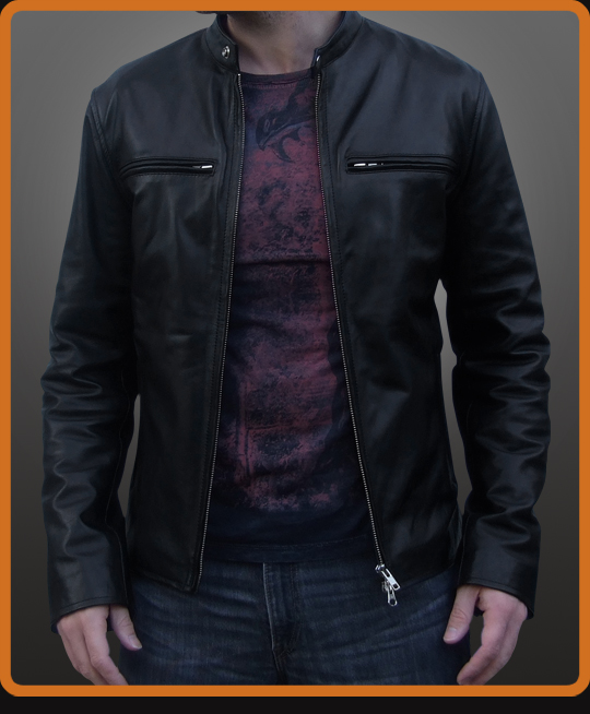 Biker leather jacket with concealed front pockets