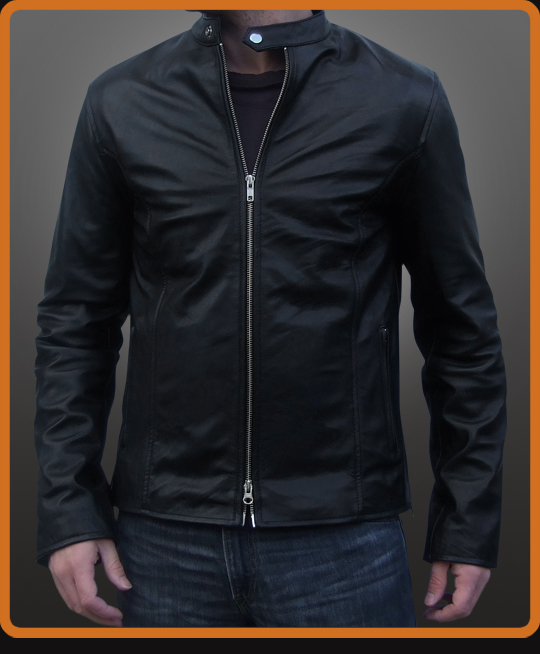 Classic biker leather jacket with clean lines