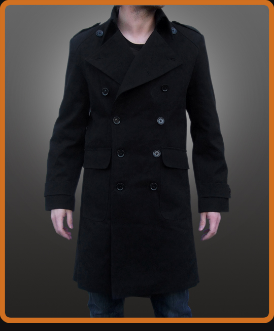 Double breasted pea coat with large collar and epaulettes
