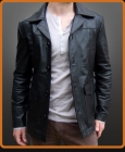 Fight Club style leather jacket with button closure