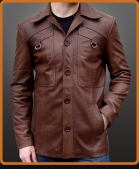Vintage buttoned leather jacket with angled chest pockets