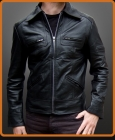 Vintage leather jacket with zipper chest pockets