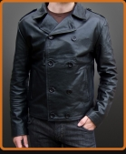 Military style leather double breasted jacket with epaulettes