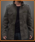 Military leather jacket influenced by Derek Reese in Terminator
