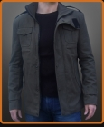 Unique styled jacket with high collar and chest patch pockets