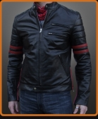 racer style leather jacket with sleeve bands