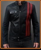 racer retro style leather jacket with vertical red stripes