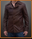 Vintage style fitted button up leather jacket