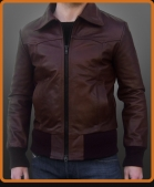Vintage leather jacket with ribbed cuffs and hem